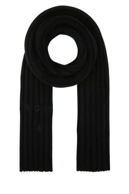 Black cotton blend scarf
