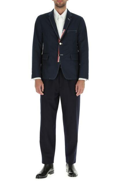 Navy blue polyester blend blazer