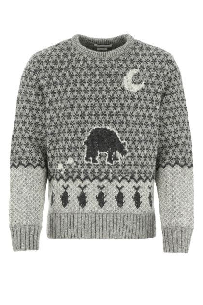Embroidered wool blend sweater
