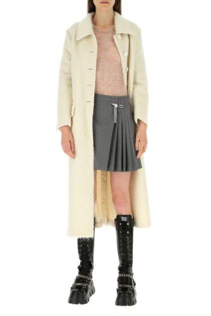 Ivory mohair blend coat