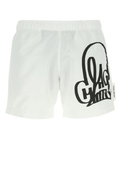 White polyester swimming shorts
