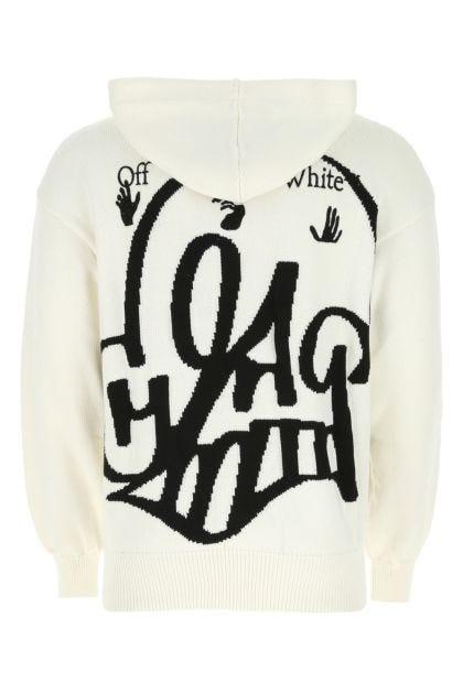 White cotton blend sweatshirt