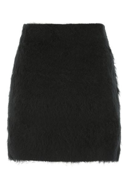 Black acrylic blend mini skirt