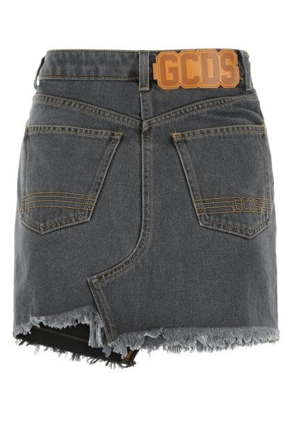 Dark grey denim mini skirt