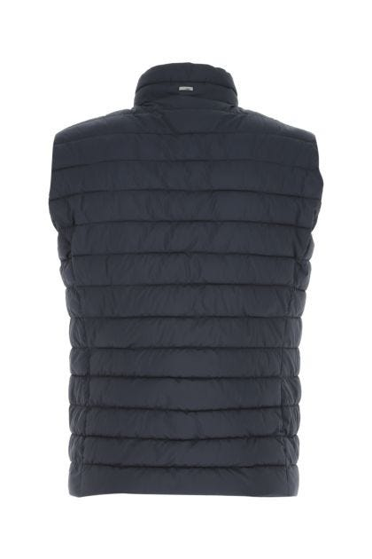 Navy blue nylon padded sleeveless jacket