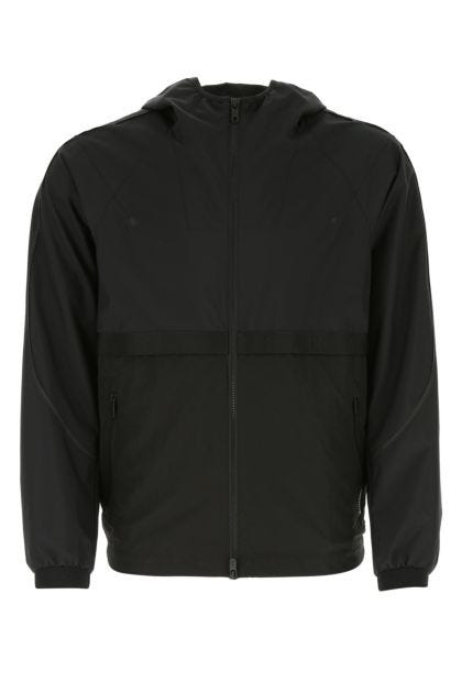 Black nylon and polyester jacket