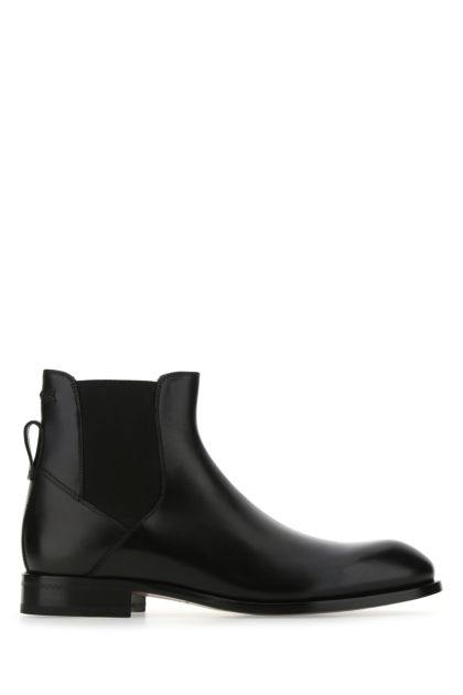 Black leather Vienna ankle boots