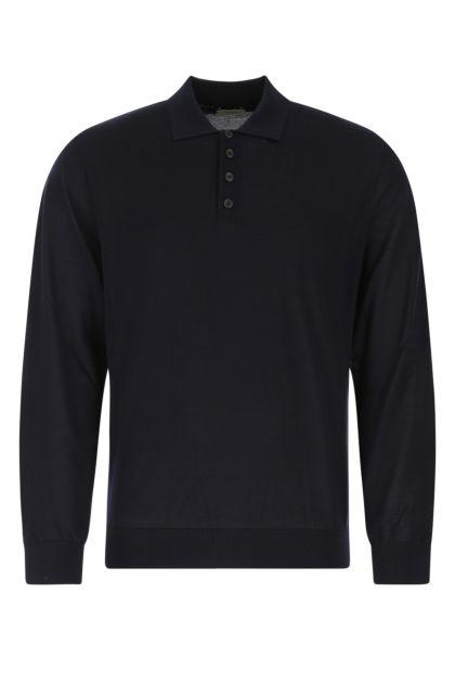 Midnight blue wool polo shirt