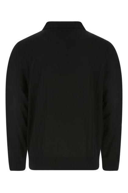 Black wool polo shirt