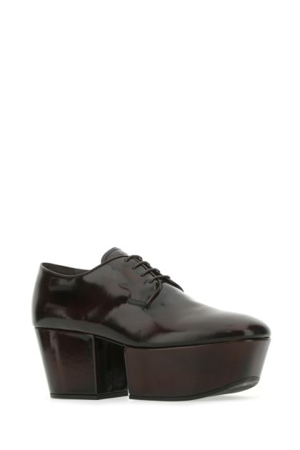 Dark brown leather lace-up shoes