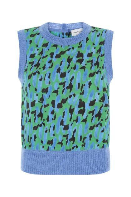 Printed viscose vest