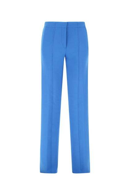 Cerulean stretch wool blend palazzo pant