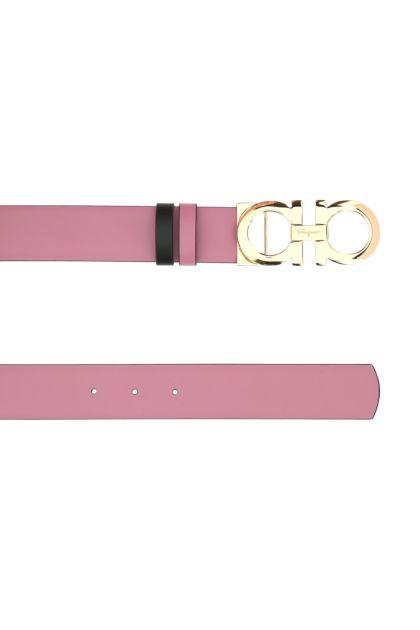 Pink leather reversible belt