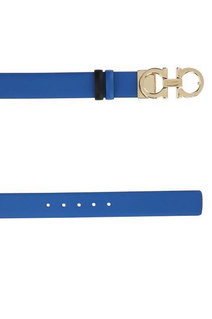 Turquoise leather Gancini reversible belt