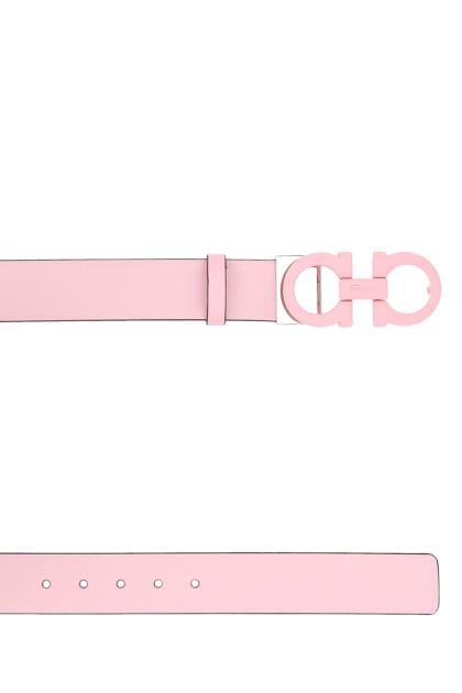 Pastel pink leather Gancini reversible belt
