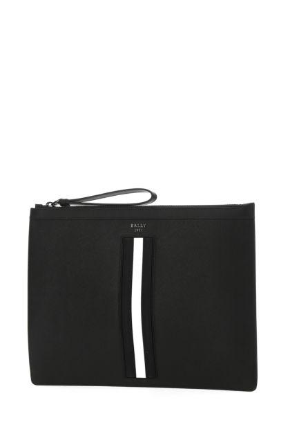 Black leather large Bollis clutch