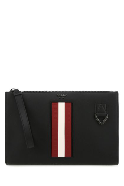 Black leather Makid clutch