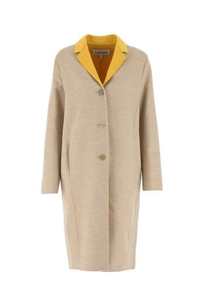 Sand wool blend coat
