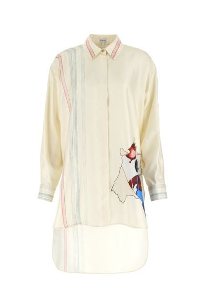 Printed silk Puppy oversize shirt