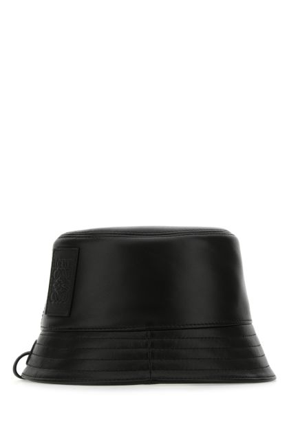 Black nappa leather hat