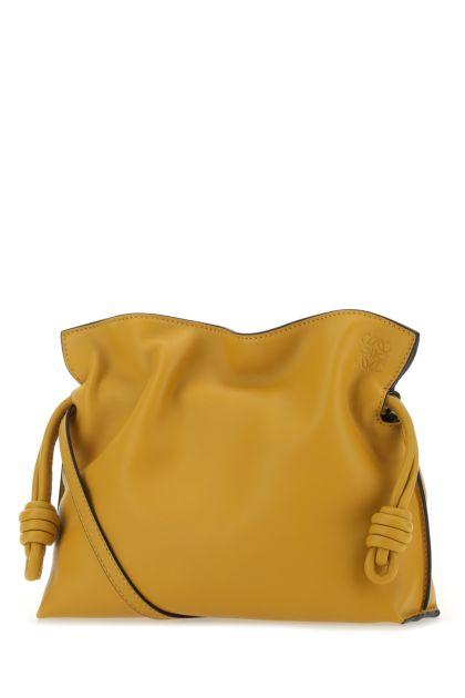Mustard nappa leather mini Flamenco clutch
