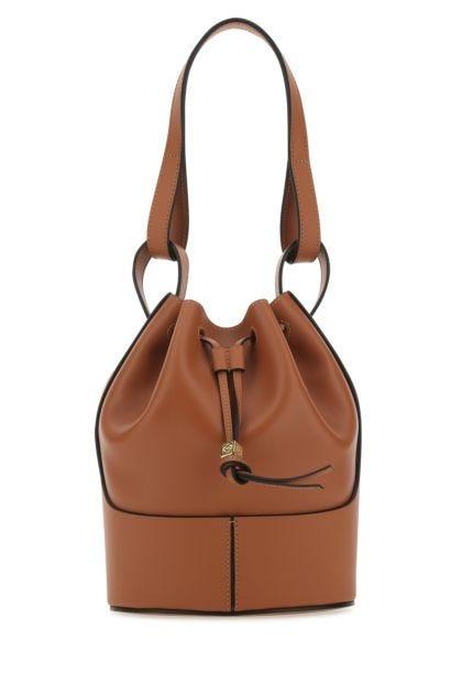 Caramel leather small Balloon bucket bag