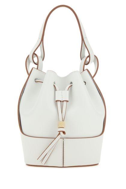 White nappa leather mini Balloon bucket bag