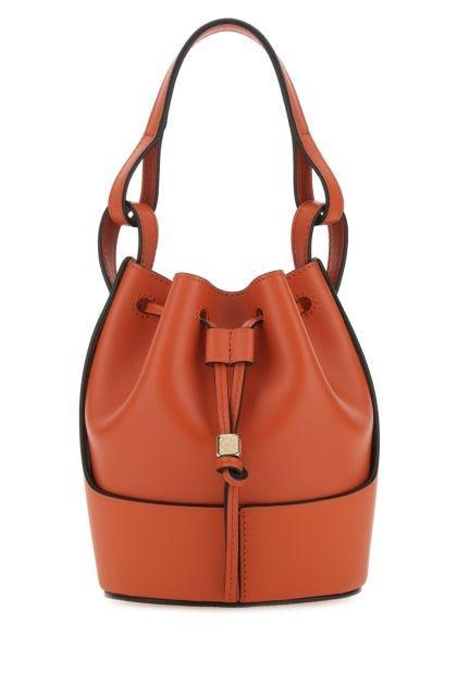 Orange nappa leather mini Balloon bucket bag