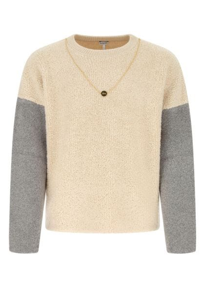 Two-tone stretch wool blend sweater
