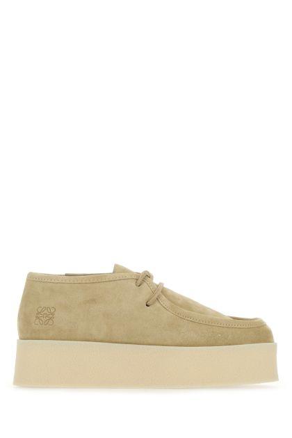 Beige suede lace-up shoes