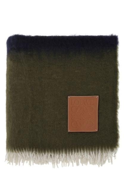 Multicolor mohair blend blanket