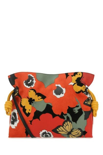 Multicolor leather and suede Flamenco clutch
