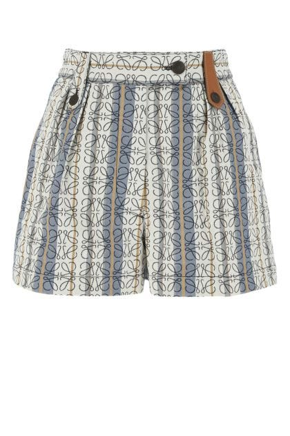 Embroidered cotton shorts