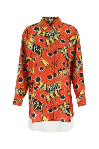 Multicolor silk and cotton oversize shirt