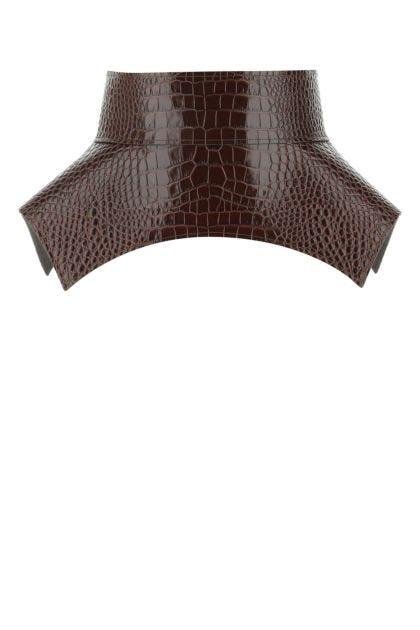 Brown leather Obi belt