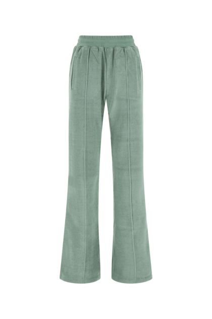 Sage green stretch terry fabric joggers