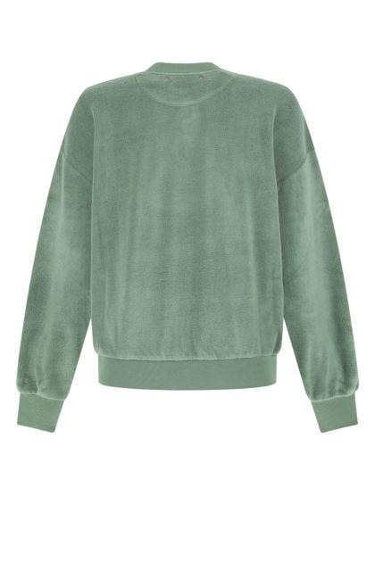 Sage green stretch terry fabric sweatshirt