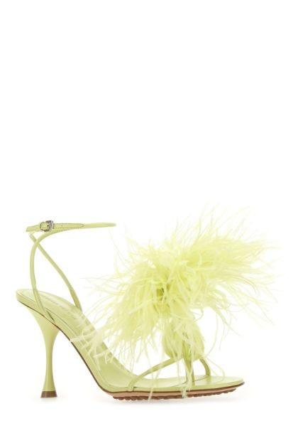 Acid green nappa leather Dot thong sandals