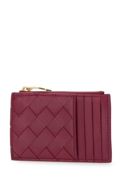 Tyrian purple nappa leather card holder
