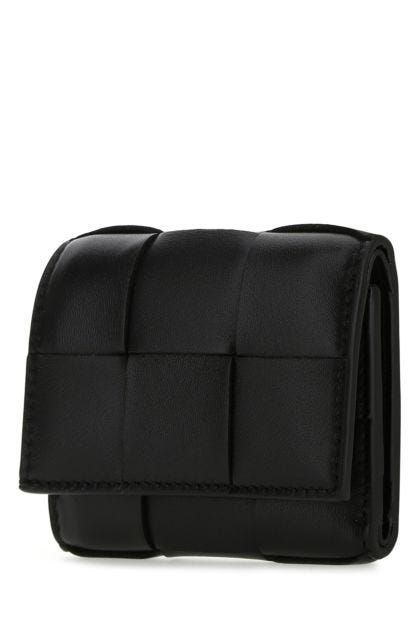 Black nappa leather small wallet