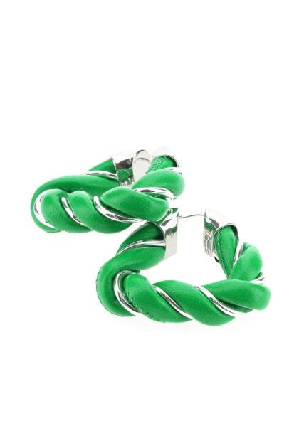 Grass green nappa leather and 925 silver Twist earrings