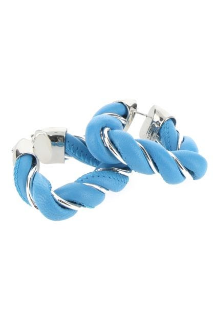 Light blue nappa leather and 925 silver Twist earrings