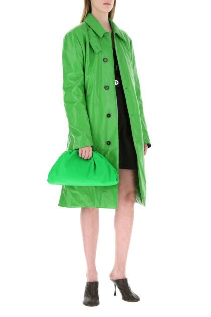 Grass green leather Pouch clutch