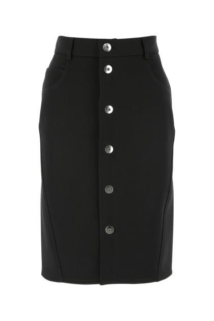 Black stretch wool blend skirt