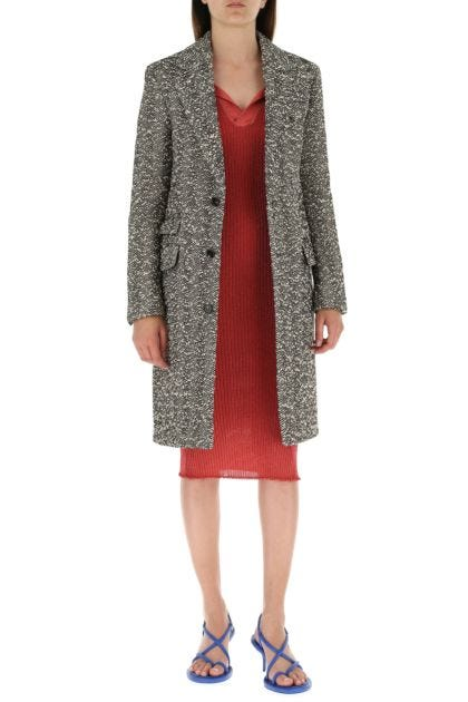 Embroidered stretch wool blend coat