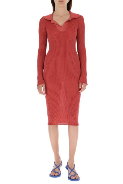 Burgundy metallised fiber dress