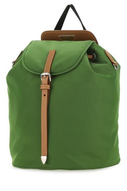 Green nylon backpack
