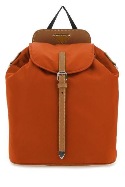 Orange nylon backpack