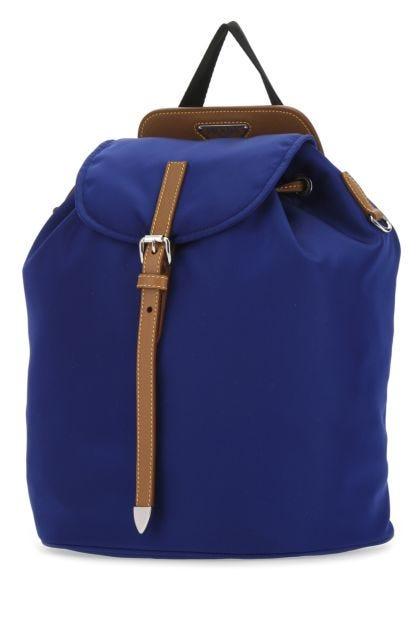 Electric blue nylon backpack