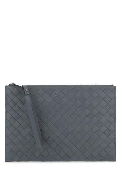 Grey leather large pochette